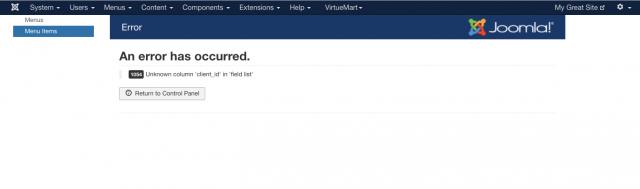 Joomla menu error