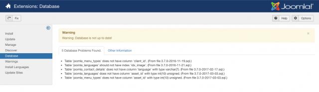 joomla database check