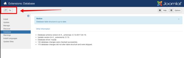 joomla database fix
