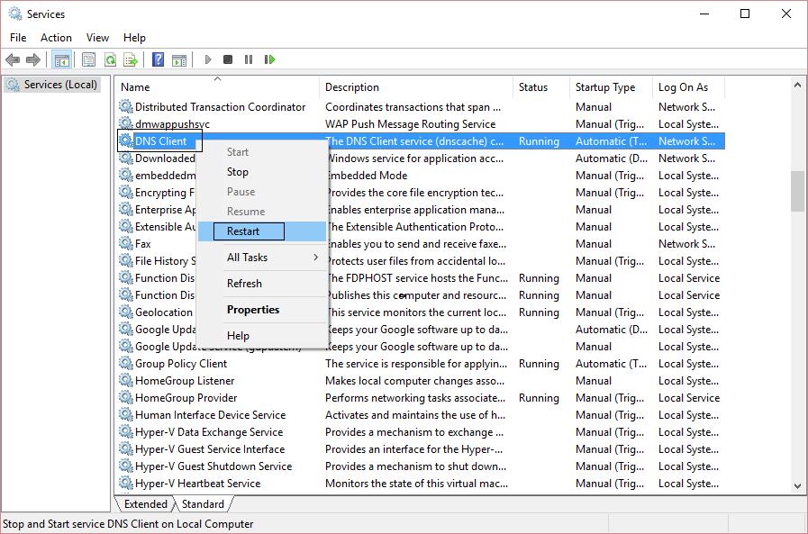 DNS-client-restart-from-servcies-window